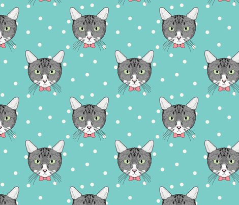 Polka Cats Green fabric by lydia_meiying on Spoonflower - custom fabric
