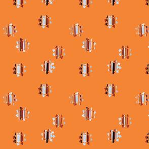 Orange and White Block Print on Orange Background