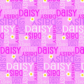 Personalised Name Fabric - Daisies in Pinks and Purple