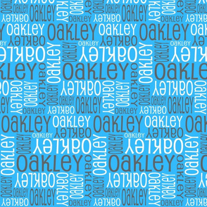 Personalised Name Fabric - Blue Grey White