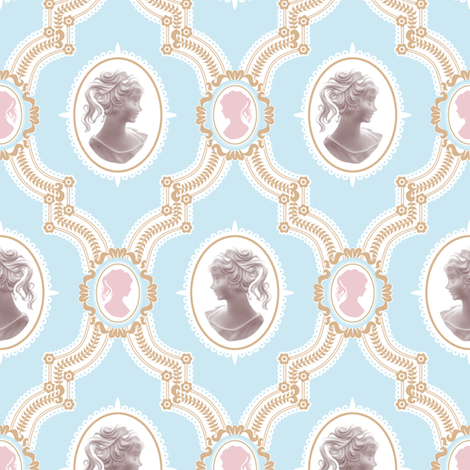 Pretty Cameo v2 fabric by woodmouse&bobbit on Spoonflower - custom fabric
