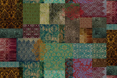 Bohemian Cheater Quilt Patchwork (in Rust and Teal) fabric by nouveau_bohemian on Spoonflower - custom fabric