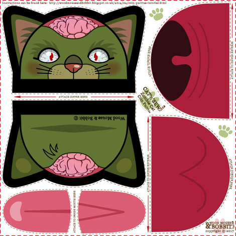 Zombie Cat Coin Purrse fabric by woodmouse&bobbit on Spoonflower - custom fabric