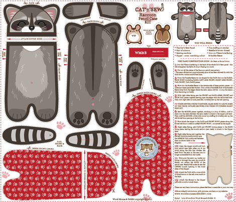 Raccoon Pencil Case fabric by woodmouse&bobbit on Spoonflower - custom fabric