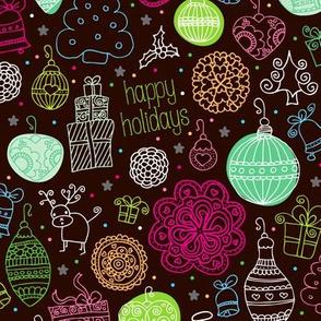 Christmas jingle bells doodles decoration and christmas stockings