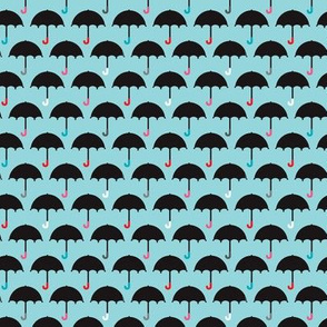 London Umbrella retro rainy day blue sky design