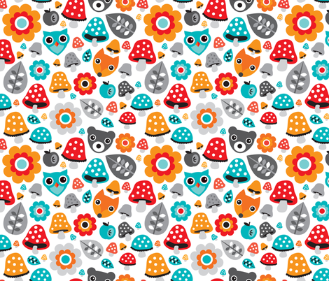 Autumn forest animals fox owl and grizzly bear woodland fabric by littlesmilemakers on Spoonflower - custom fabric