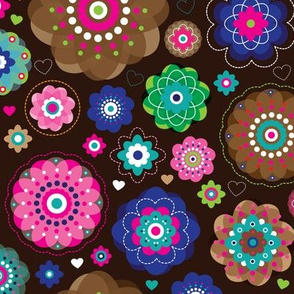 Dark retro flowers colorful summer blossom print