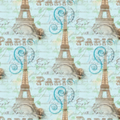 Vintage Paris French Words Aqua