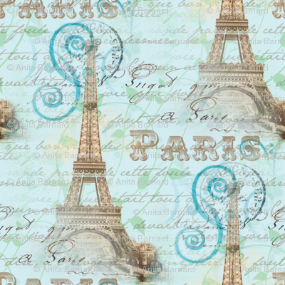 Vintage Paris French Words Aqua Fabric 13moons Design
