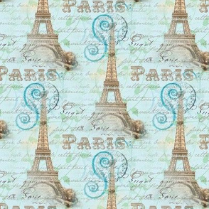 Vintage Paris French Words Aqua