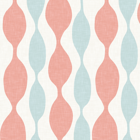 Coral and Turquoise Beaded Stripe in Linen fabric by willowlanetextiles on Spoonflower - custom fabric