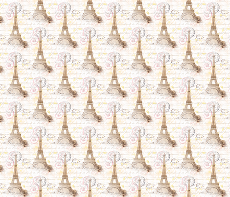 Paris Vintage French Writing Pink Cream fabric by 13moons_design on Spoonflower - custom fabric