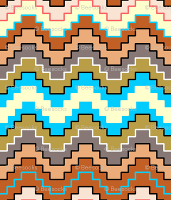Stepped Chevron Desert Earth tones