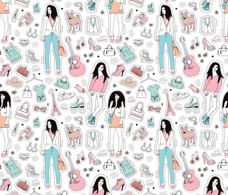 Fashion girls and models summer style collection lifestyle fabric by littlesmilemakers on Spoonflower - custom fabric