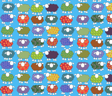 Patterned sheep on blue! fabric by engelbam on Spoonflower - custom fabric
