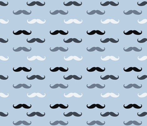 Blue Mustaches Fabric Peacefuldreams Spoonflower