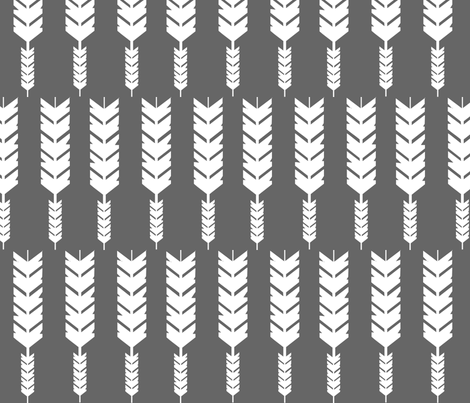 Grey Feather Arrow fabric by modfox on Spoonflower - custom fabric