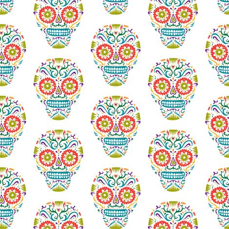 Sugar Skulls SF sunshine fabric by andibird on Spoonflower - custom fabric