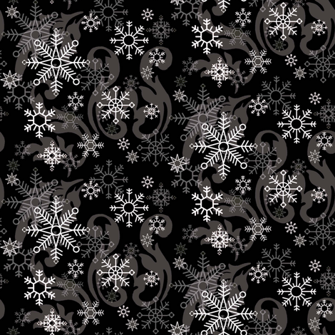New_Snowflake_Black_Damask fabric by kelly_a on Spoonflower - custom fabric