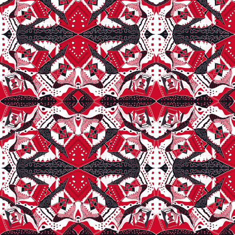 TRICHROMATIC DELIRIUM RED Geometric fabric by paysmage on Spoonflower - custom fabric