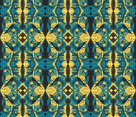 TRICHROMATIC DELIRIUM TURQUOISE YELLOW Geometric fabric by paysmage on Spoonflower - custom fabric
