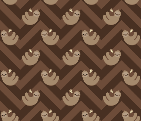 Sloths and chevrons fabric by petitspixels on Spoonflower - custom fabric