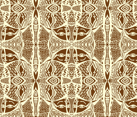 exotic_faces_repeat_for_yardage_B fabric by eileen_fleming_pattern_design,_llc on Spoonflower - custom fabric