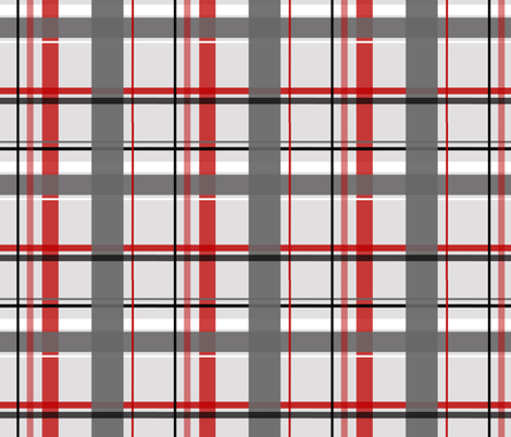plaid red & gray fabric by olioh on Spoonflower - custom fabric