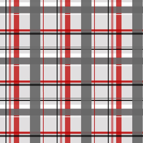 plaid red & gray