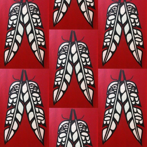 Eagle & Raven Feathers on Red