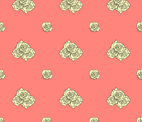 Roses on Coral fabric by fk on Spoonflower - custom fabric