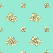 Roses on Coral Blue