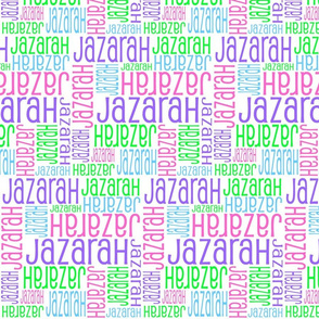 Personalised Name Fabric - Purple Pink Blue Green