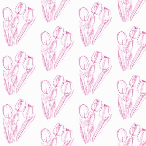 pink tulips fabric by cathymcg on Spoonflower - custom fabric