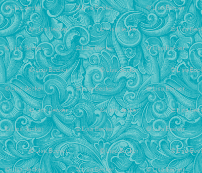 Engraved Swirls 2 - Teal