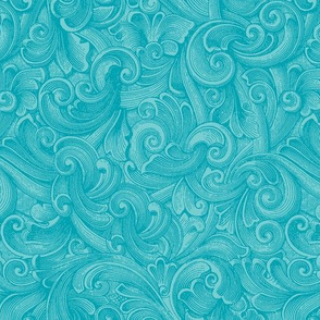 Engraved Swirls 2 - Teal