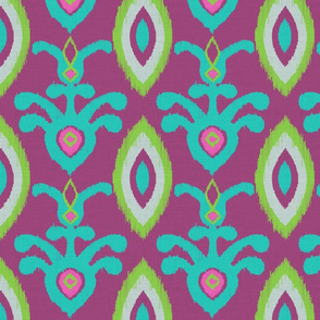 Elephant Festival Ikat in Purple and Turquoise