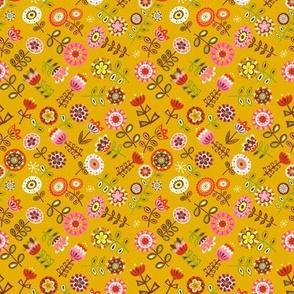 retro flowers - mustard