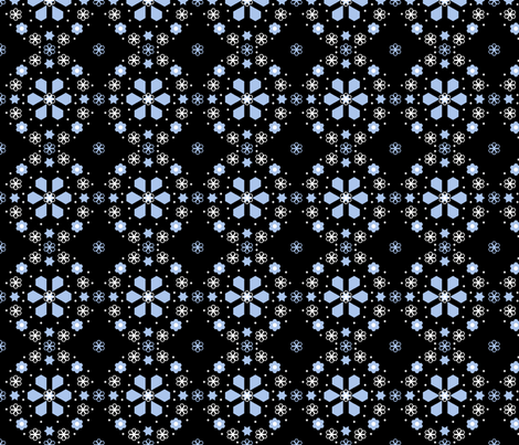 Winter Night medallion_4_inch_black fabric by khowardquilts on Spoonflower - custom fabric