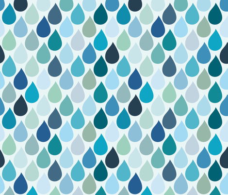 Blue rain fabric by wantit on Spoonflower - custom fabric