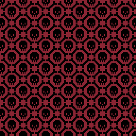 8-bit Bones and Skulls (dark red) fabric by petitspixels on Spoonflower - custom fabric