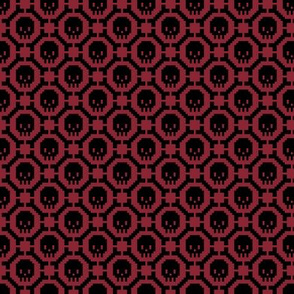 8-bit Bones and Skulls (dark red)