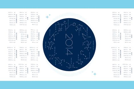 2014 Stitch the Stars Calendar Tea Towel fabric by heatherlinshome on Spoonflower - custom fabric