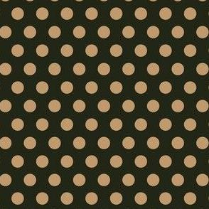 Mocha Dots on Dark Green