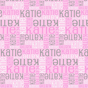 Personalised Name Fabric - Pinks and Grey