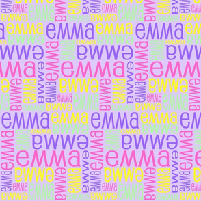 Personalised Name Fabric - Purple Pink Yellow Green