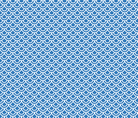 Double scales in blue fabric by little_fish on Spoonflower - custom fabric