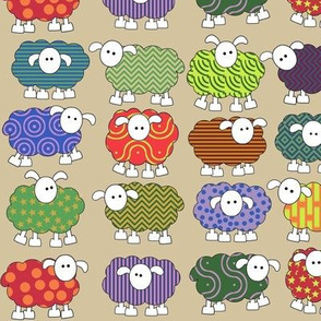 smaller patterned sheep on beige, making big eyes at you
