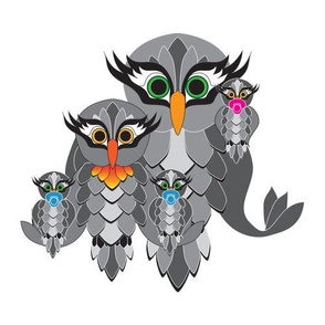 Owl_Couple_grey_and_Triplets